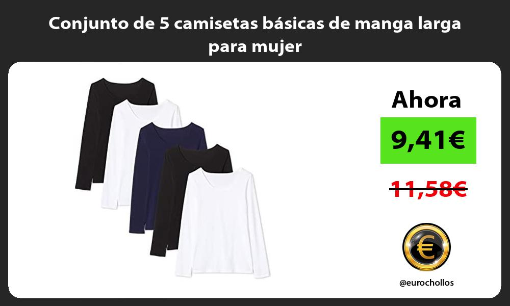 Conjunto de 5 camisetas basicas de manga larga para mujer