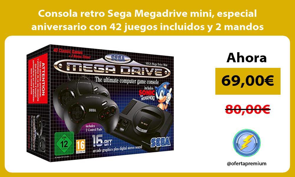 Consola retro Sega Megadrive mini especial aniversario con 42 juegos incluidos y 2 mandos