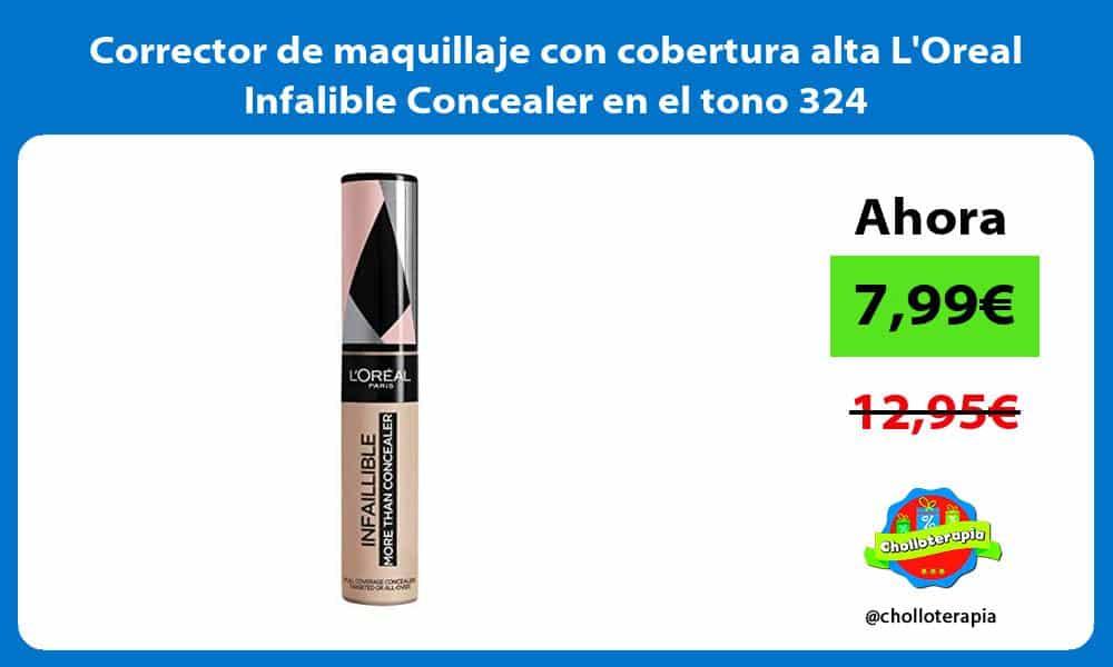 Corrector de maquillaje con cobertura alta LOreal Infalible Concealer en el tono 324