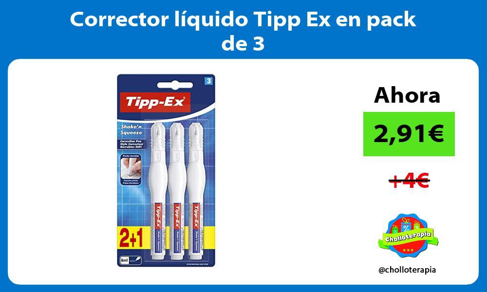 Corrector líquido Tipp Ex en pack de 3
