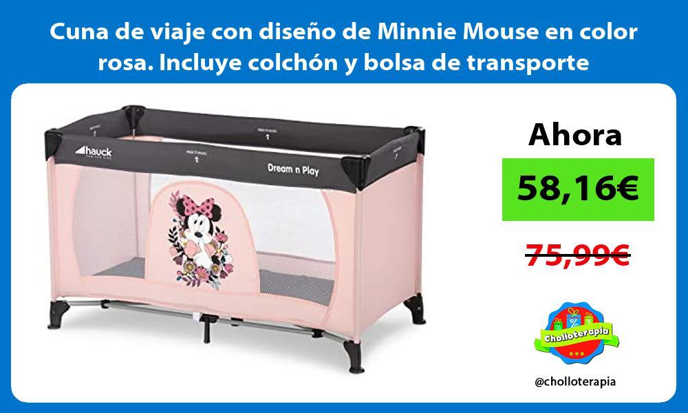 Cuna de viaje con diseno de Minnie Mouse en color rosa Incluye colchon y bolsa de transporte