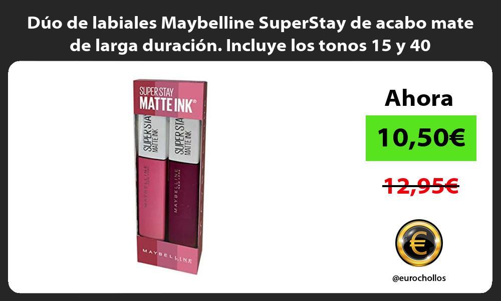 Dúo de labiales Maybelline SuperStay de acabo mate de larga duración Incluye los tonos 15 y 40