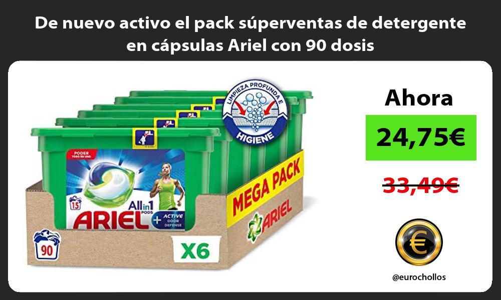 De nuevo activo el pack superventas de detergente en capsulas Ariel con 90 dosis