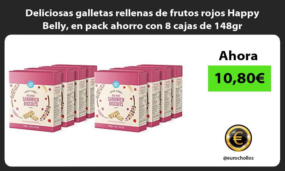 Deliciosas galletas rellenas de frutos rojos Happy Belly en pack ahorro con 8 cajas de 148gr