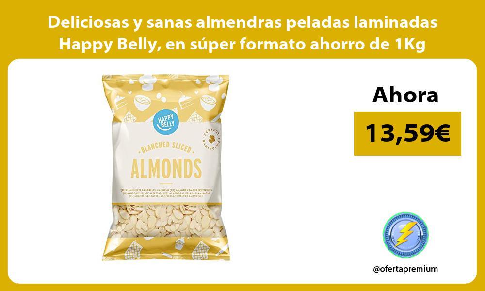 Deliciosas y sanas almendras peladas laminadas Happy Belly en super formato ahorro de 1Kg