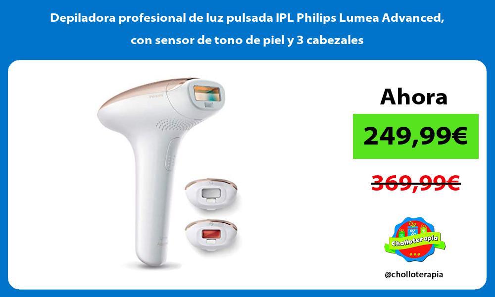 Depiladora profesional de luz pulsada IPL Philips Lumea Advanced con sensor de tono de piel y 3 cabezales
