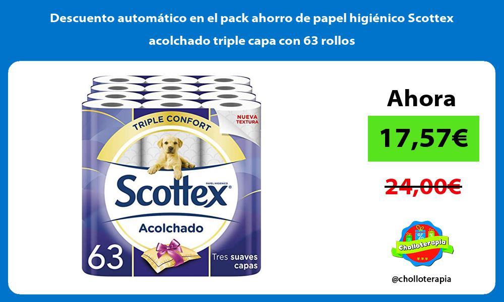 Descuento automatico en el pack ahorro de papel higienico Scottex acolchado triple capa con 63 rollos