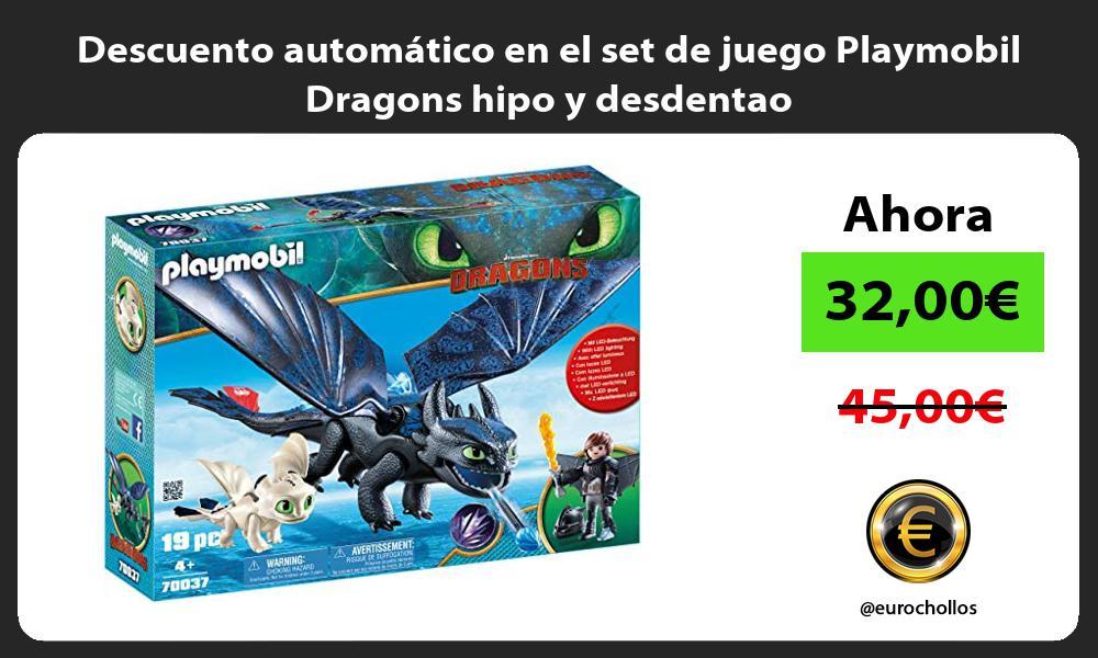 Descuento automatico en el set de juego Playmobil Dragons hipo y desdentao