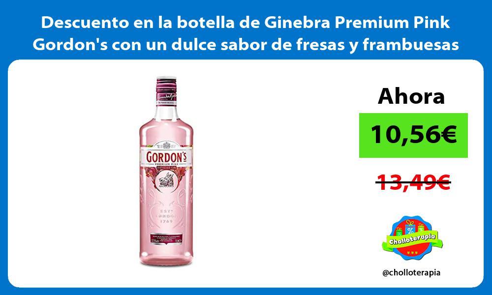 Descuento en la botella de Ginebra Premium Pink Gordons con un dulce sabor de fresas y frambuesas