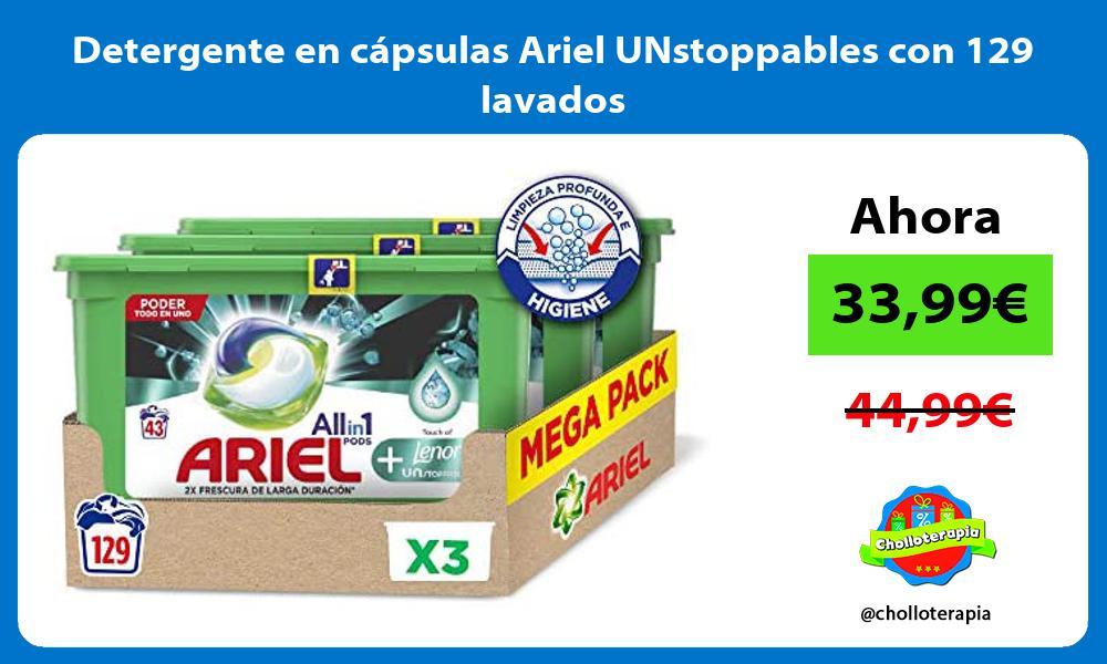 Detergente en capsulas Ariel UNstoppables con 129 lavados