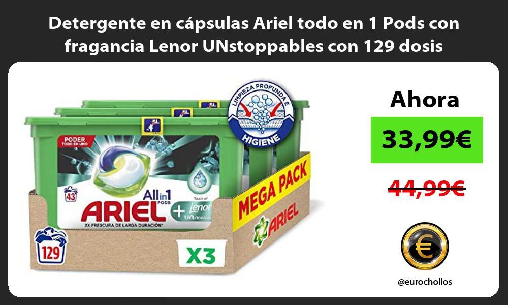 Detergente en capsulas Ariel todo en 1 Pods con fragancia Lenor UNstoppables con 129 dosis
