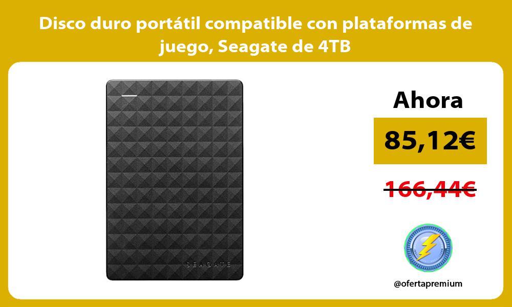 Disco duro portátil compatible con plataformas de juego Seagate de 4TB
