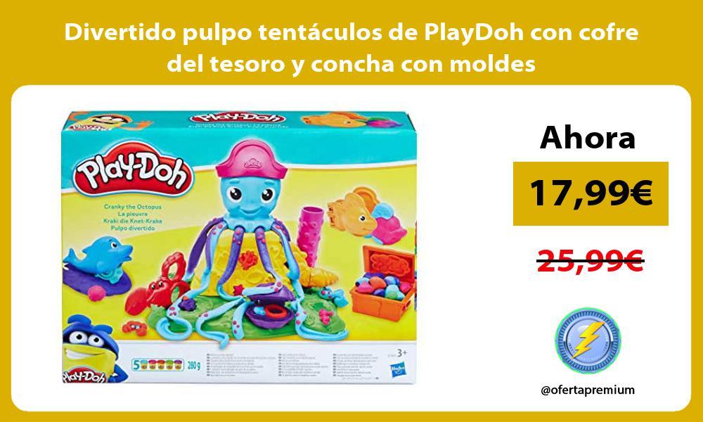 Divertido pulpo tentaculos de PlayDoh con cofre del tesoro y concha con moldes