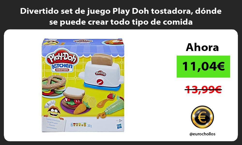 Divertido set de juego Play Doh tostadora donde se puede crear todo tipo de comida