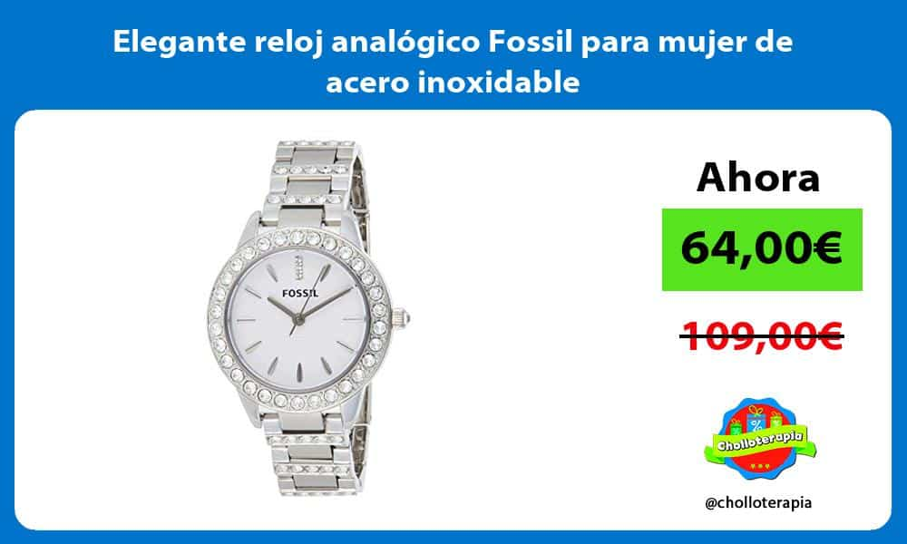 Elegante reloj analógico Fossil para mujer de acero inoxidable