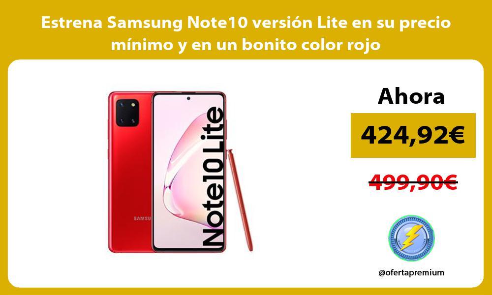 Estrena Samsung Note10 version Lite en su precio minimo y en un bonito color rojo