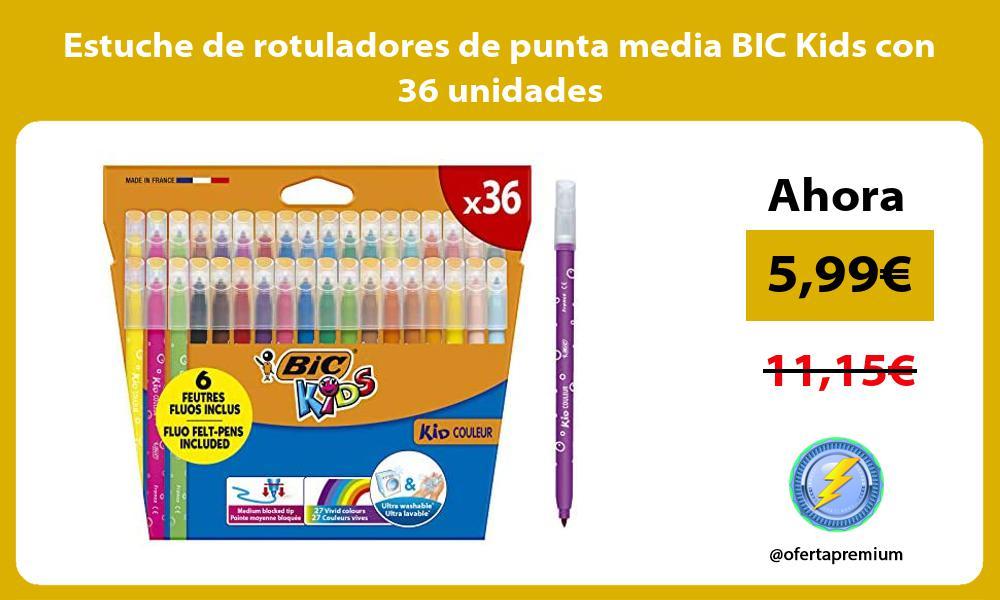 Estuche de rotuladores de punta media BIC Kids con 36 unidades