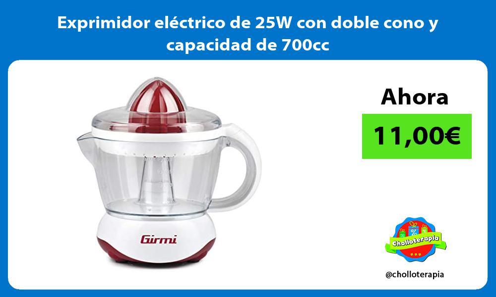 Exprimidor electrico de 25W con doble cono y capacidad de 700cc