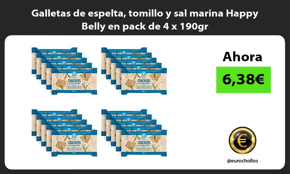 Galletas de espelta tomillo y sal marina Happy Belly en pack de 4 x 190gr