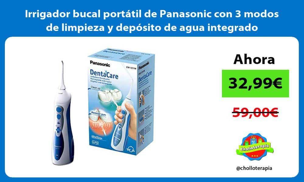 Irrigador bucal portátil de Panasonic con 3 modos de limpieza y depósito de agua integrado