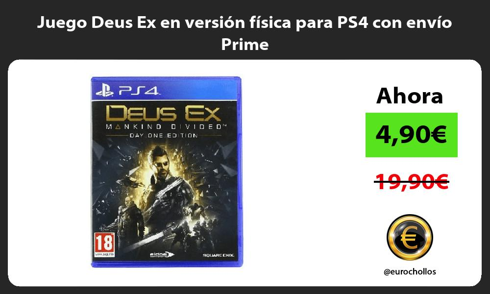 Juego Deus Ex en version fisica para PS4 con envio Prime