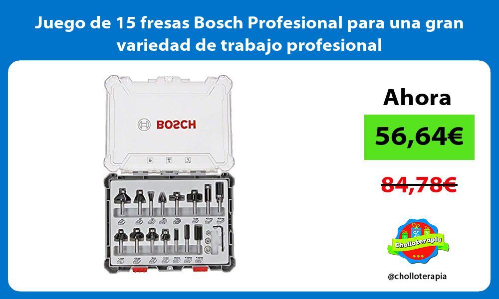 Juego de 15 fresas Bosch Profesional para una gran variedad de trabajo profesional