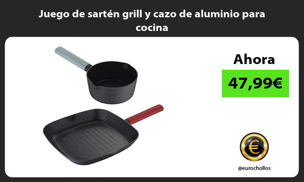 Juego de sartén grill y cazo de aluminio para cocina