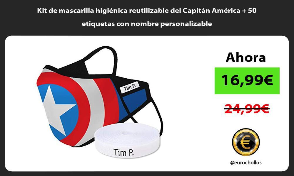 Kit de mascarilla higienica reutilizable del Capitan America 50 etiquetas con nombre personalizable
