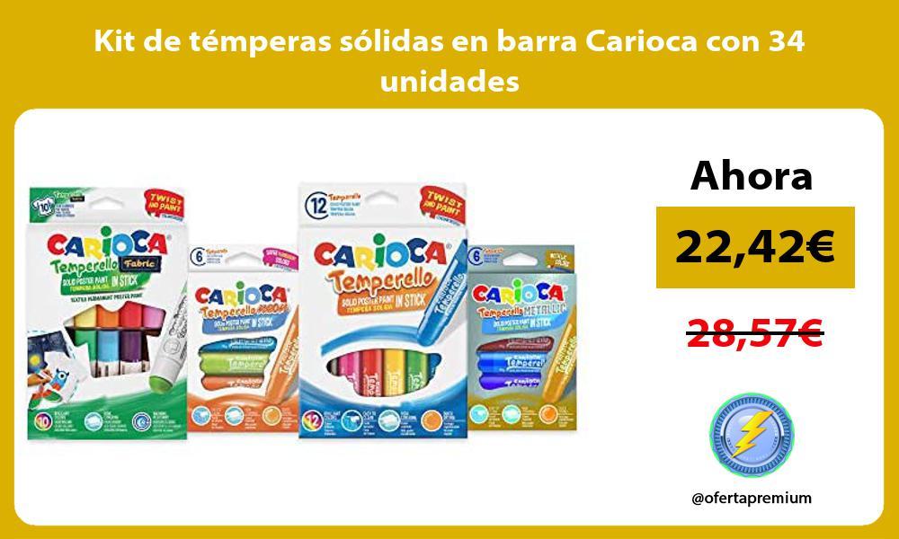 Kit de temperas solidas en barra Carioca con 34 unidades