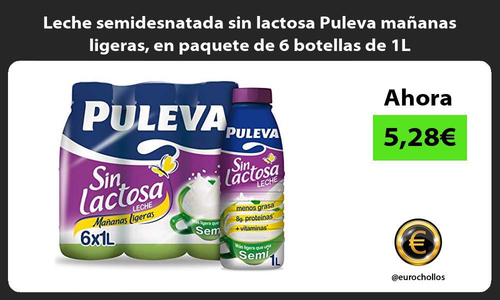 Leche semidesnatada sin lactosa Puleva mananas ligeras en paquete de 6 botellas de 1L