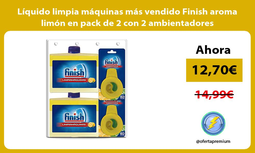 Liquido limpia maquinas mas vendido Finish aroma limon en pack de 2 con 2 ambientadores