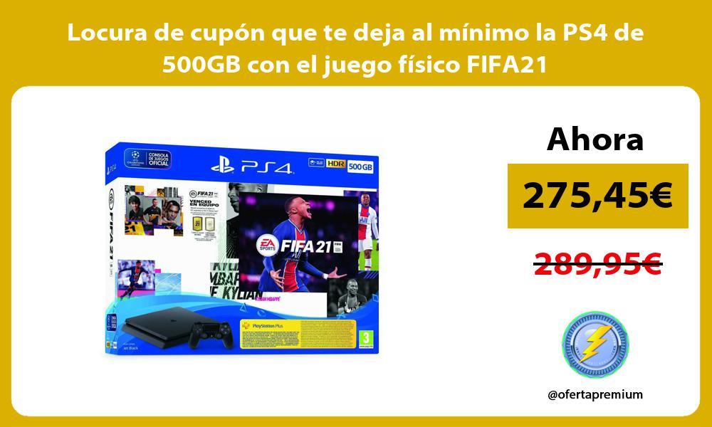 Locura de cupon que te deja al minimo la PS4 de 500GB con el juego fisico FIFA21