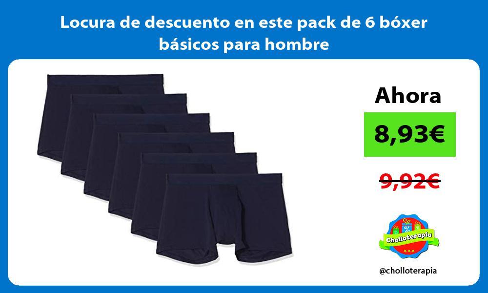 Locura de descuento en este pack de 6 boxer basicos para hombre
