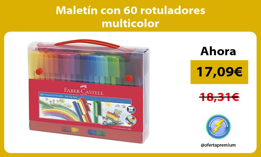 Maletín con 60 rotuladores multicolor