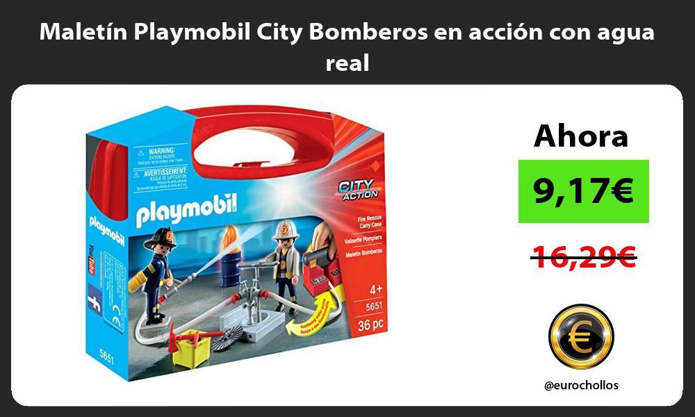 Maletin Playmobil City Bomberos en accion con agua real