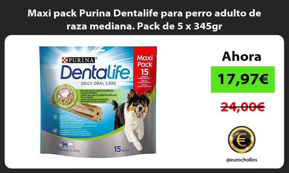 Maxi pack Purina Dentalife para perro adulto de raza mediana Pack de 5 x 345gr