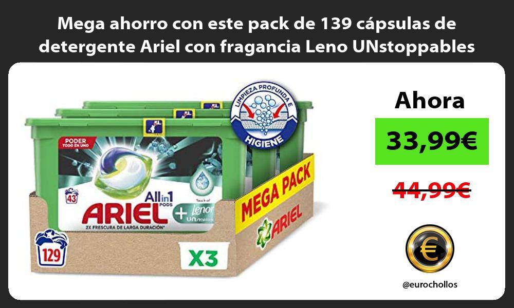 Mega ahorro con este pack de 139 capsulas de detergente Ariel con fragancia Leno UNstoppables