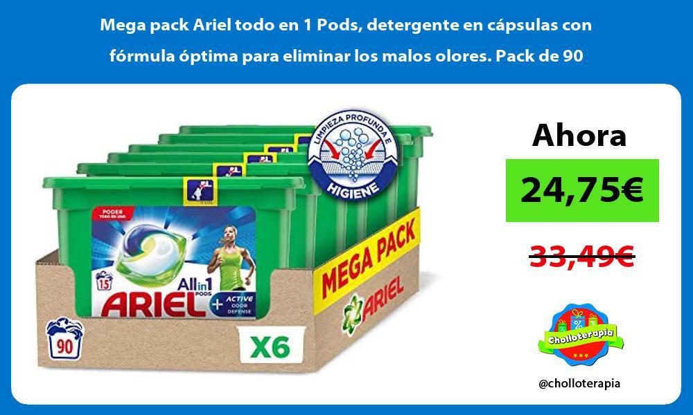 Mega pack Ariel todo en 1 Pods detergente en capsulas con formula optima para eliminar los malos olores Pack de 90