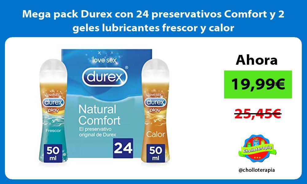 Mega pack Durex con 24 preservativos Comfort y 2 geles lubricantes frescor y calor