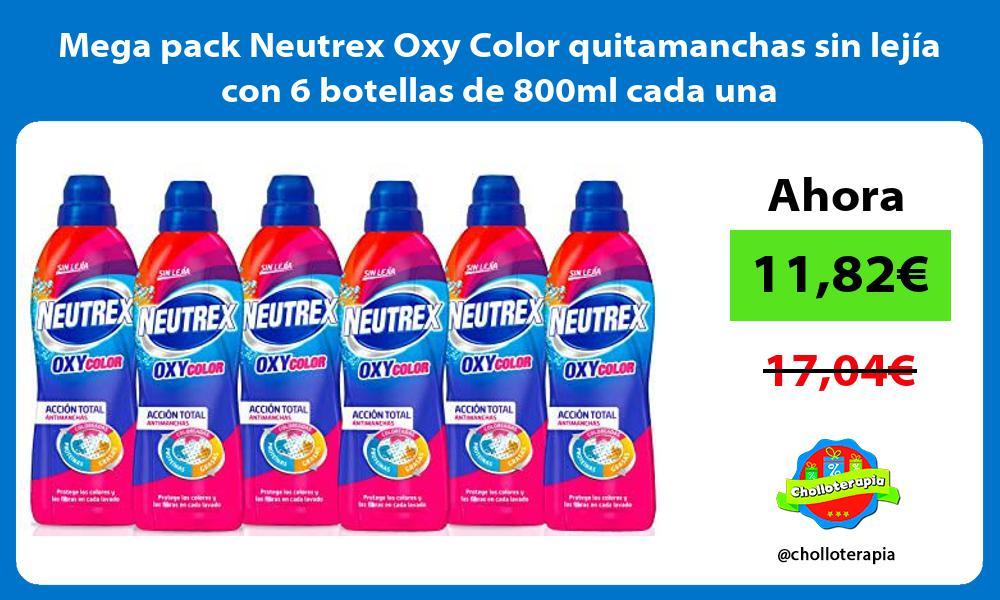 Mega pack Neutrex Oxy Color quitamanchas sin lejia con 6 botellas de 800ml cada una