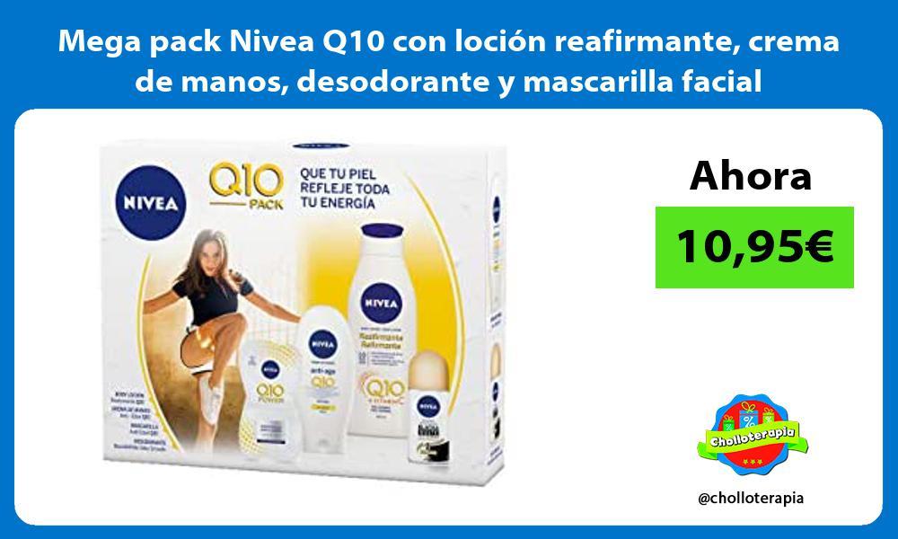 Mega pack Nivea Q10 con loción reafirmante crema de manos desodorante y mascarilla facial