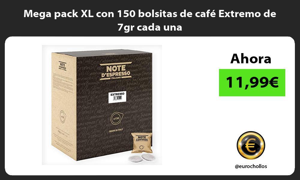 Mega pack XL con 150 bolsitas de cafe Extremo de 7gr cada una