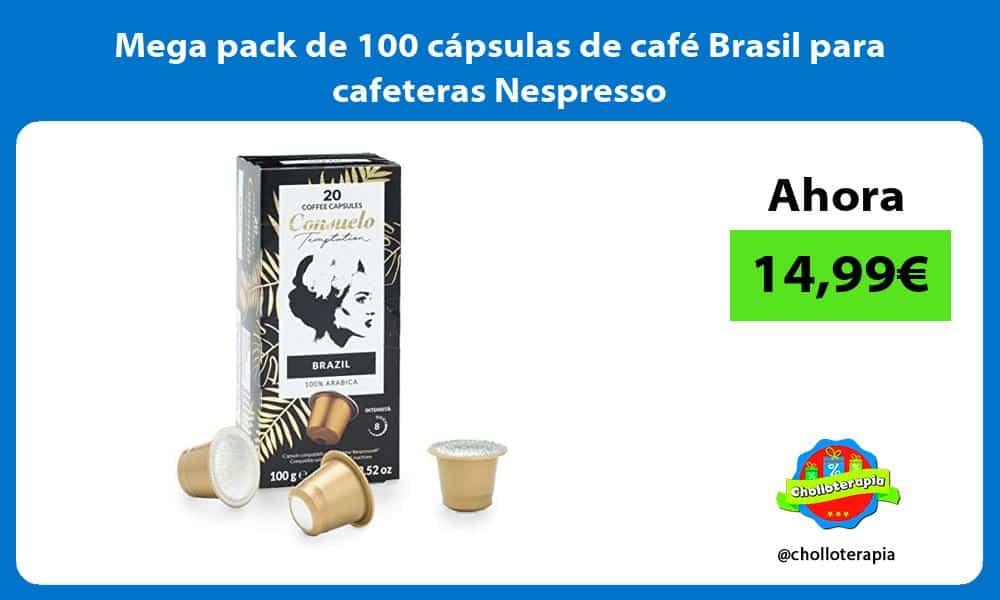 Mega pack de 100 cápsulas de café Brasil para cafeteras Nespresso