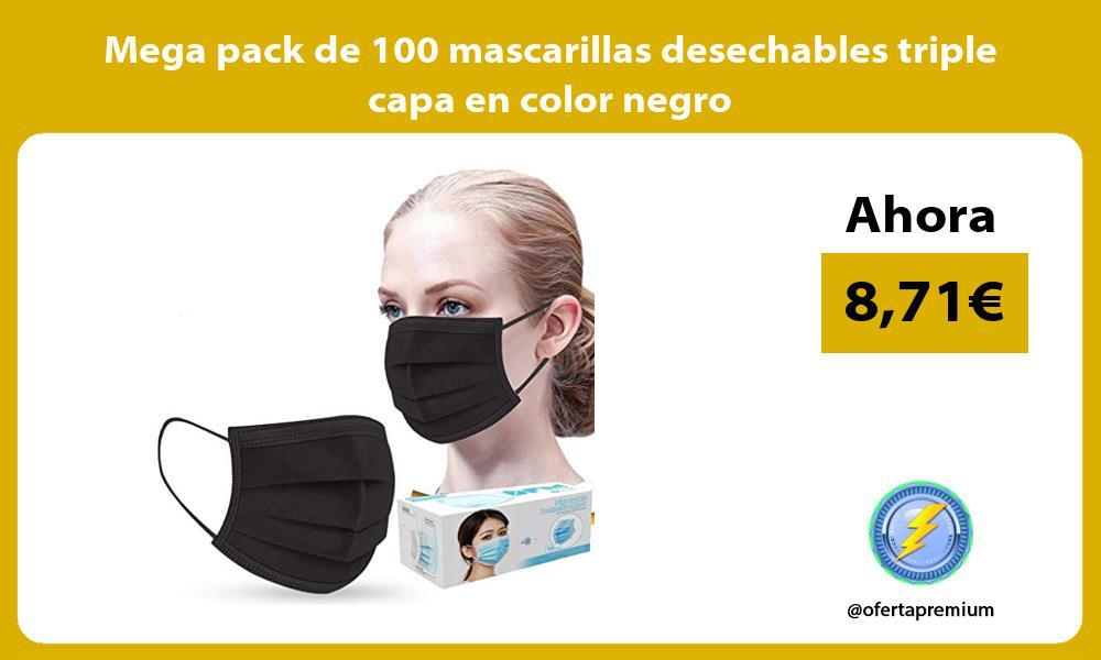 Mega pack de 100 mascarillas desechables triple capa en color negro