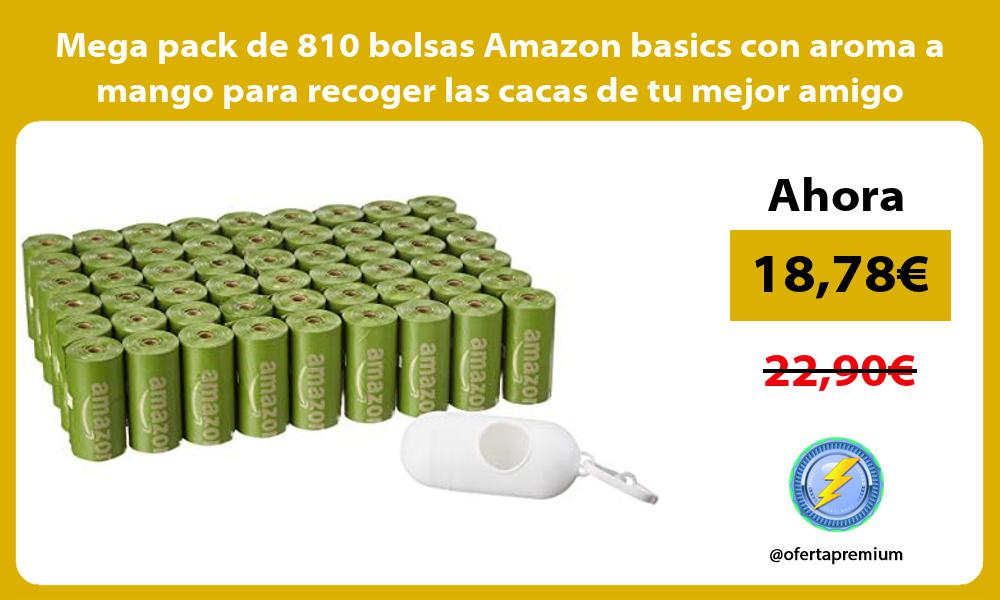 Mega pack de 810 bolsas Amazon basics con aroma a mango para recoger las cacas de tu mejor amigo