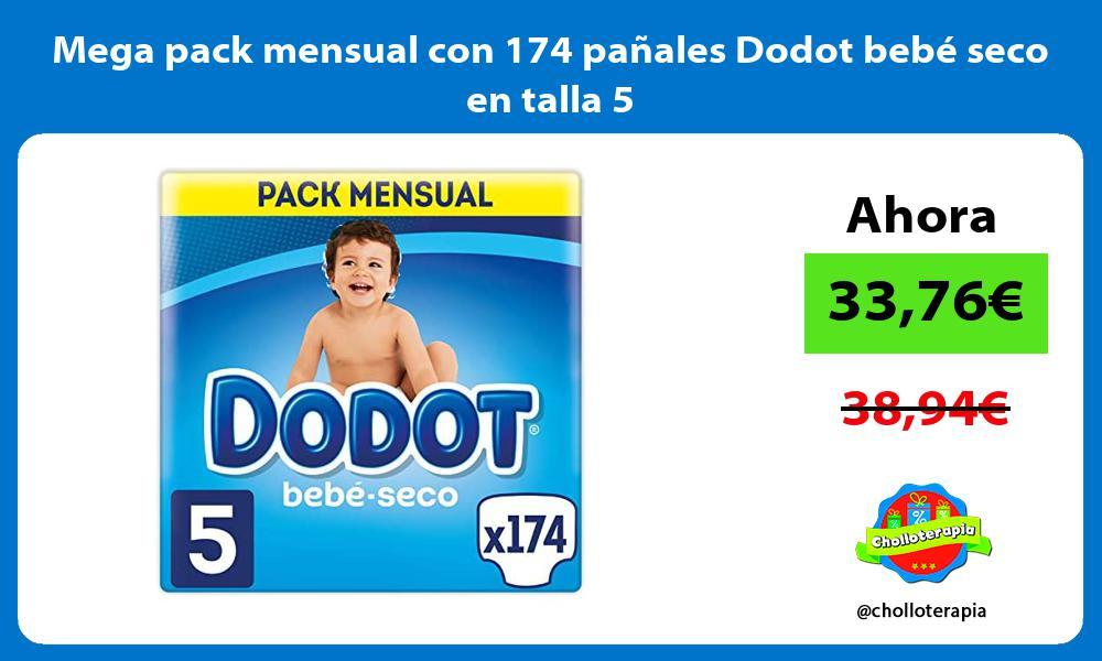 Mega pack mensual con 174 pañales Dodot bebé seco en talla 5