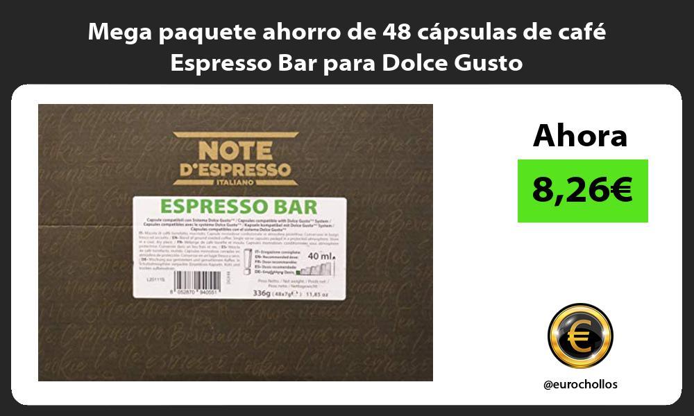 Mega paquete ahorro de 48 capsulas de cafe Espresso Bar para Dolce Gusto
