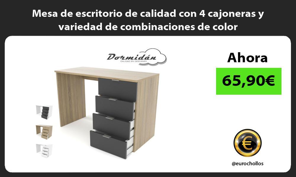 Mesa de escritorio de calidad con 4 cajoneras y variedad de combinaciones de color