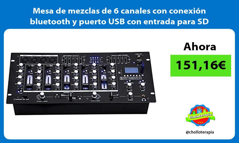 Mesa de mezclas de 6 canales con conexion bluetooth y puerto USB con entrada para SD