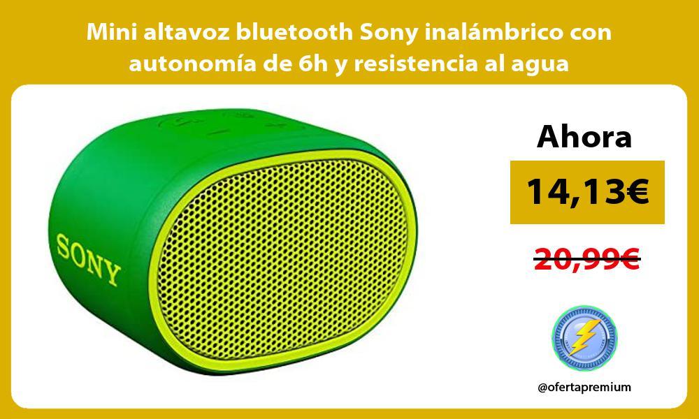 Mini altavoz bluetooth Sony inalámbrico con autonomía de 6h y resistencia al agua